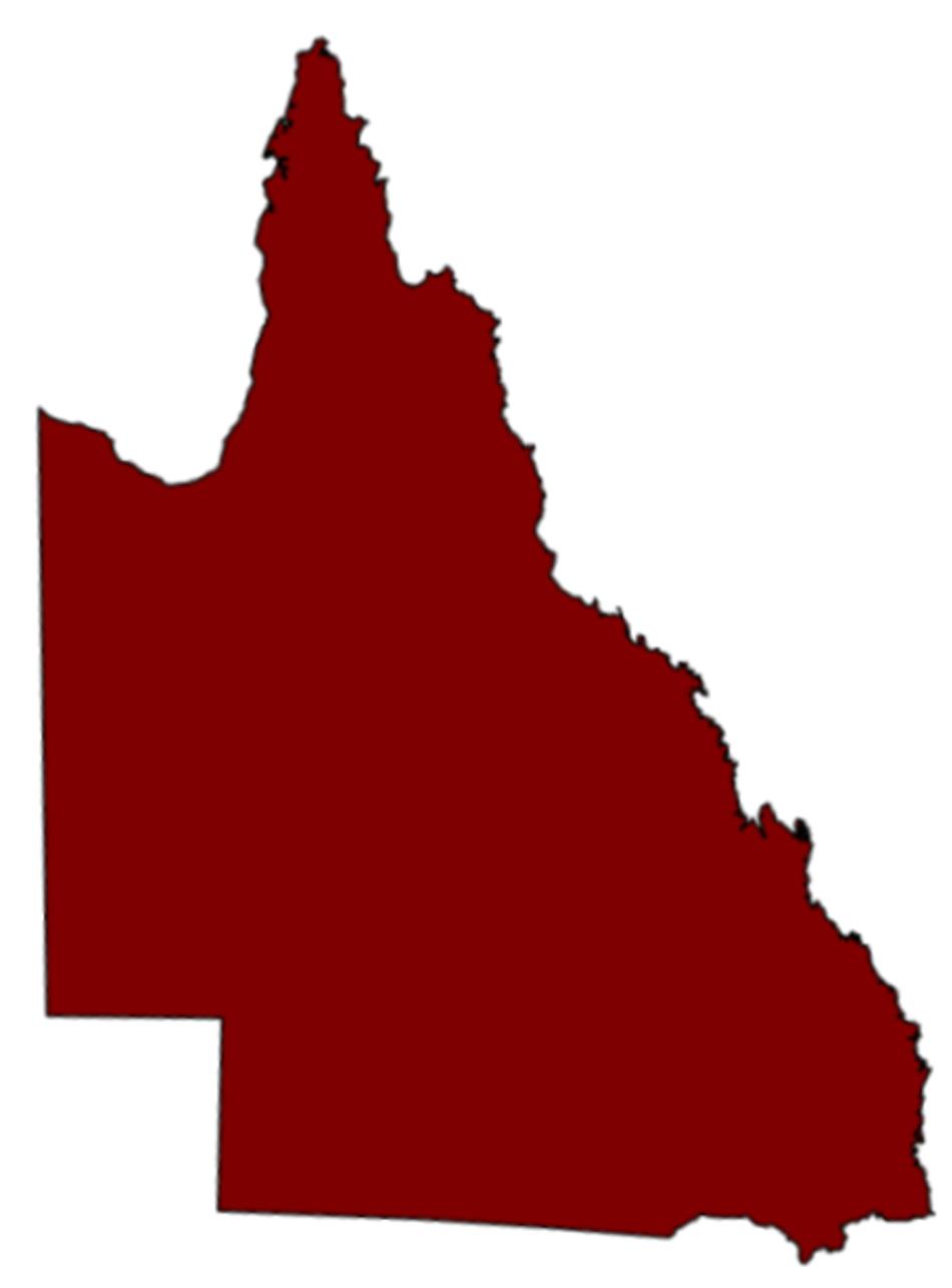 Queensland map coloured